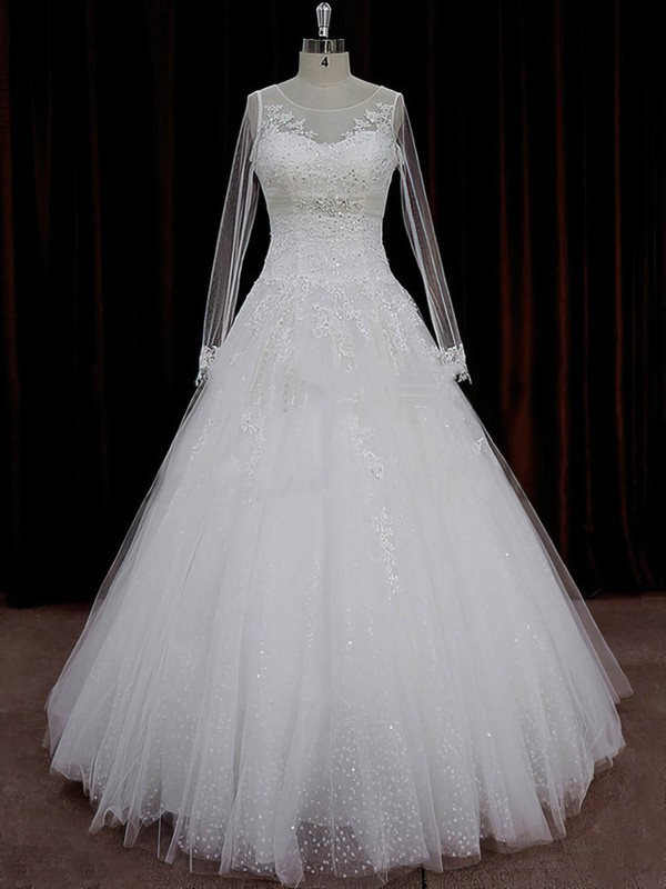 A-line Appliques Lace Ivory Tulle Long Sleeve Chapel Train Wedding Dresses #PWD00022018