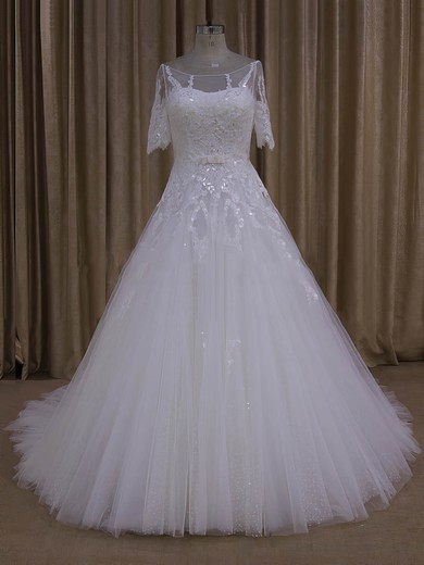 Court Train Ivory Tulle Appliques Lace 1/2 Sleeve Scoop Neck Wedding Dresses #PWD00022019