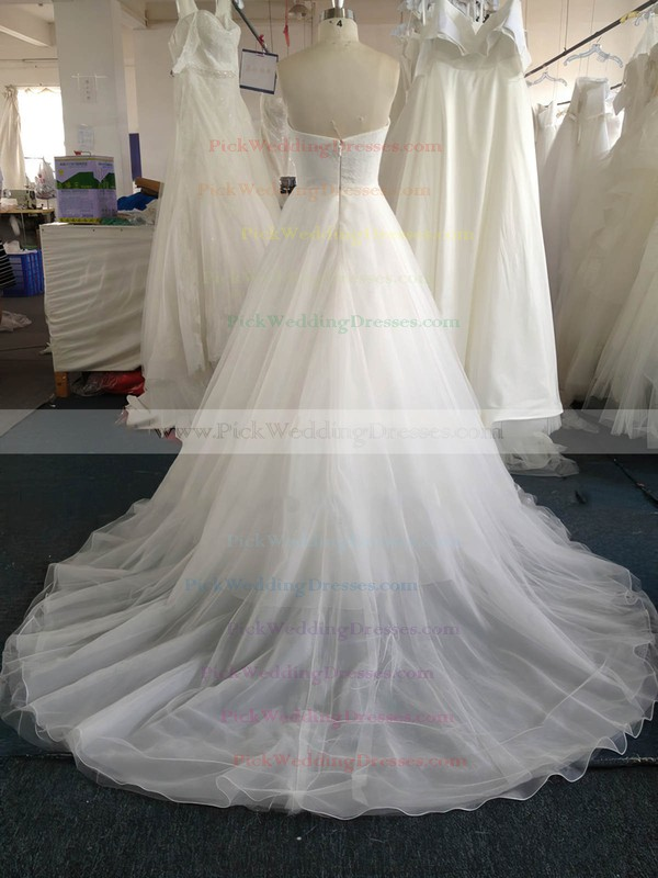 Sweetheart Pearl Detailing White Lace Tulle Court Train Wedding Dress #PWD00022020