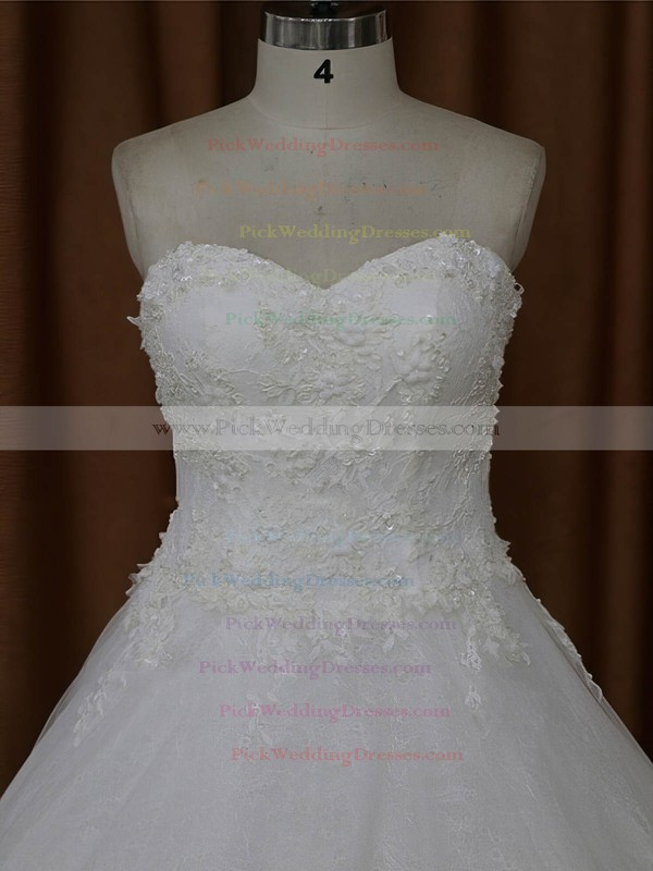 A-line Appliques Lace Ivory Tulle Sweetheart Modern Wedding Dresses #PWD00022021