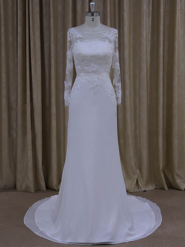 Sheath/Column White Chiffon Appliques Lace Long Sleeve Scoop Neck Wedding Dresses #PWD00022022