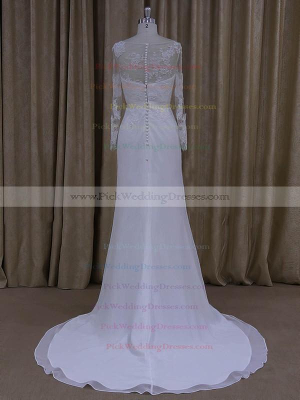 Sheath/Column White Chiffon Appliques Lace Long Sleeve Scoop Neck Wedding Dresses #PWD00022022