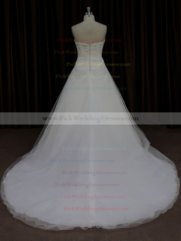 Designer Ivory Tulle Satin Appliques Lace Sweetheart Court Train Wedding Dress #PWD00022023