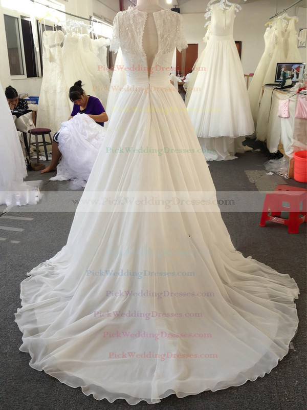 A-line Ivory Chiffon Lace Beading Short Sleeve Scoop Neck Wedding Dresses #PWD00022024