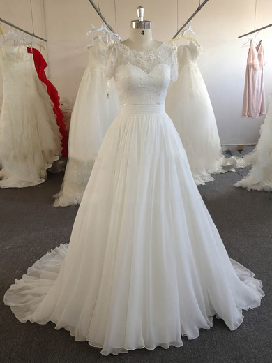 A-line Ivory Chiffon Lace Beading Short Sleeve Scoop Neck Wedding Dresses #PWD00022024