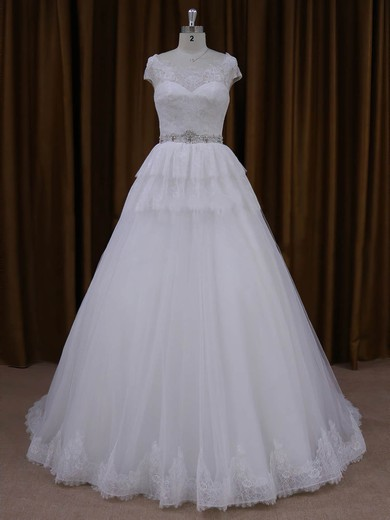 Court Train White Lace Tulle Beading Cap Straps A-line Wedding Dresses #PWD00022025