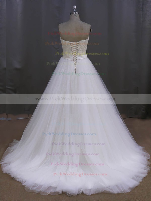 Ivory Tulle Sweetheart Pearl Detailing Lace-up Sweep Train Wedding Dress #PWD00022026