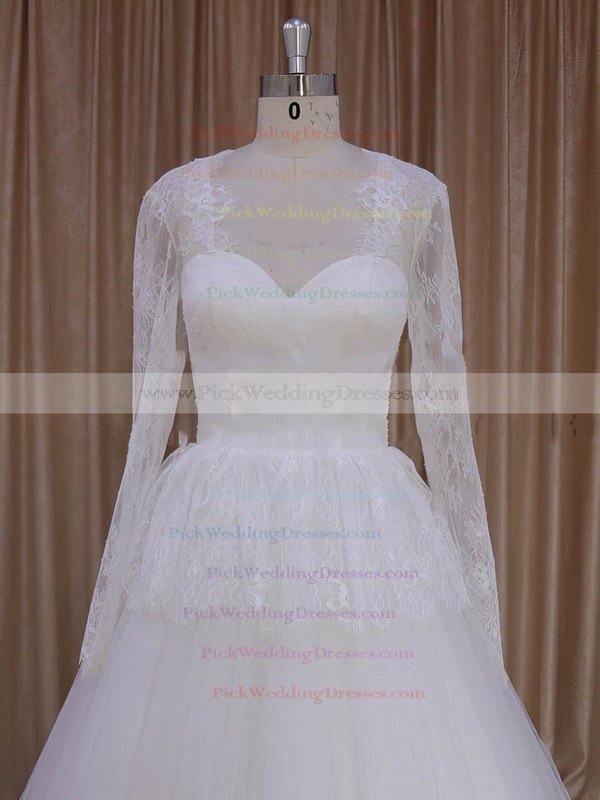 V-neck Appliques Lace Court Train Long Sleeve Ivory Lace Tulle Wedding Dresses #PWD00022027