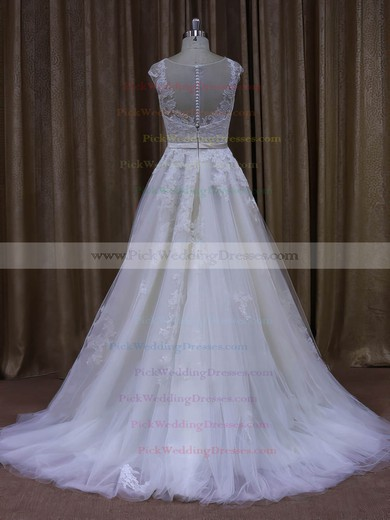 Sweep Train Cap Straps Tulle Appliques Lace Scoop Neck Ivory Wedding Dresses #PWD00022028