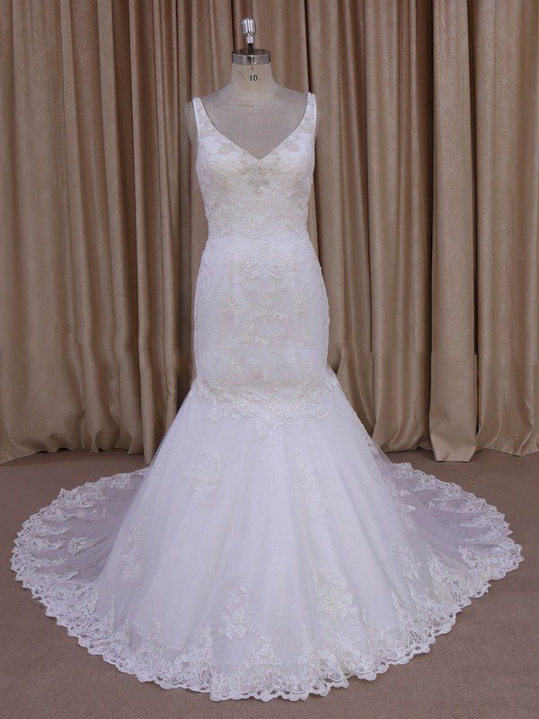 Trumpet/Mermaid Appliques Lace Ivory Tulle V-neck New Arrival Wedding Dress #PWD00022030
