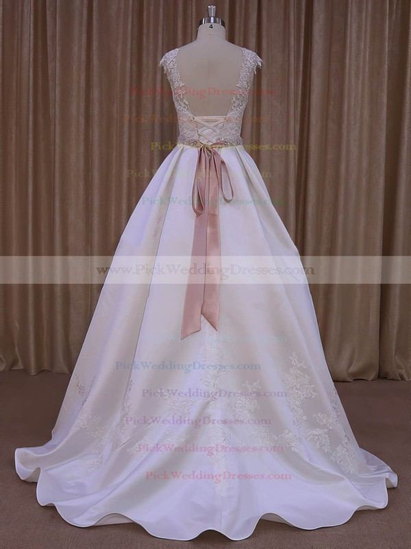 Ivory Satin Scoop Neck Lace-up Sweep Train Appliques Lace Wedding Dresses #PWD00022031