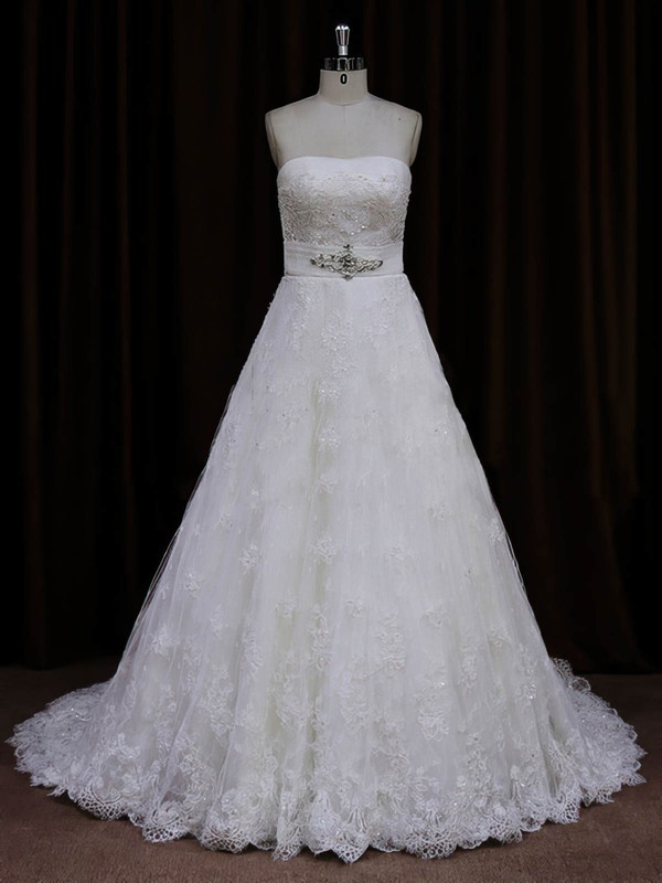 Ivory Lace Sashes/Ribbons Sweep Train Vintage Strapless Wedding Dresses #PWD00022032