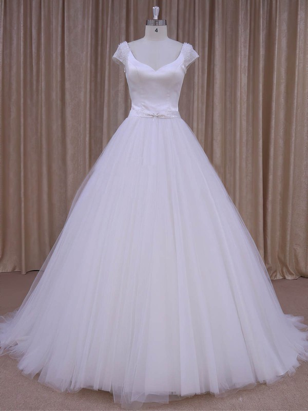 White Satin Tulle Beading Short Sleeve V-neck Open Back Wedding Dresses #PWD00022033