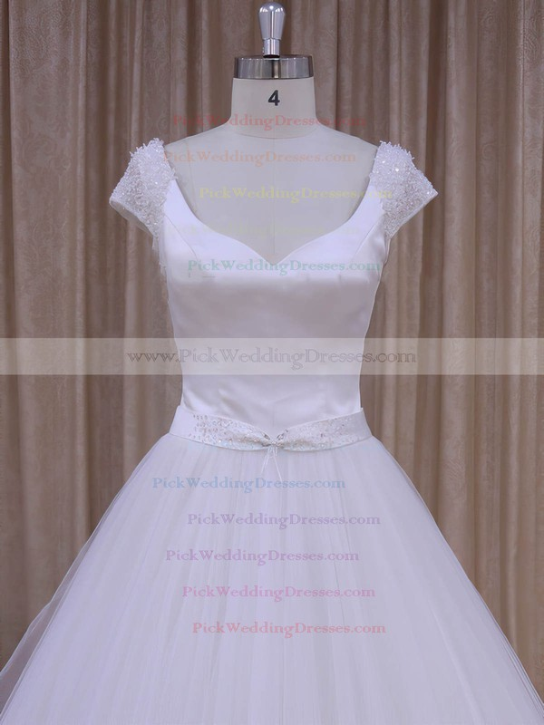 White Satin Tulle Beading Short Sleeve V-neck Open Back Wedding Dresses #PWD00022033