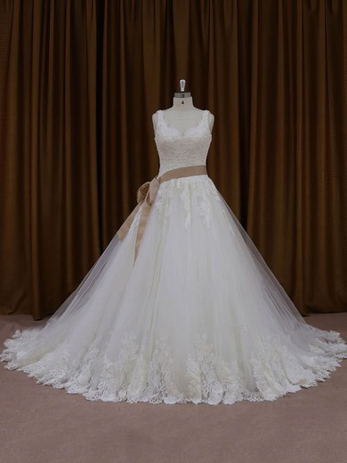 Modest Ivory Tulle Appliques Lace Chapel Train Ball Gown Wedding Dresses #PWD00022035