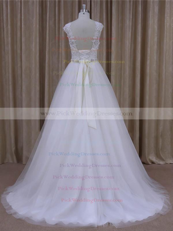 Open Back Scoop Neck Tulle Appliques Lace Cap Straps White Wedding Dresses #PWD00022036
