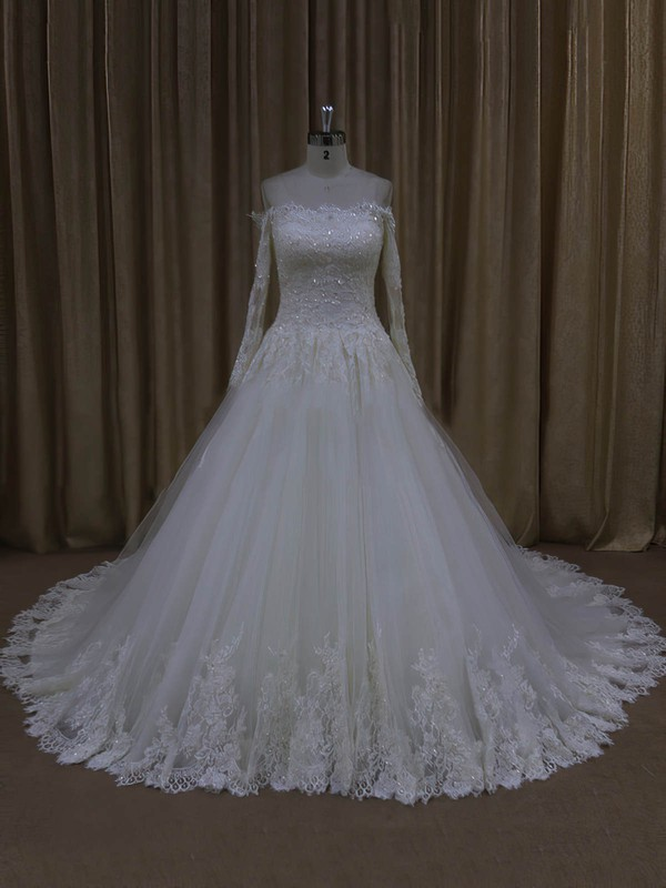 Elegant Off-the-shoulder Ivory Tulle Appliques Lace Long Sleeve Wedding Dresses #PWD00022037