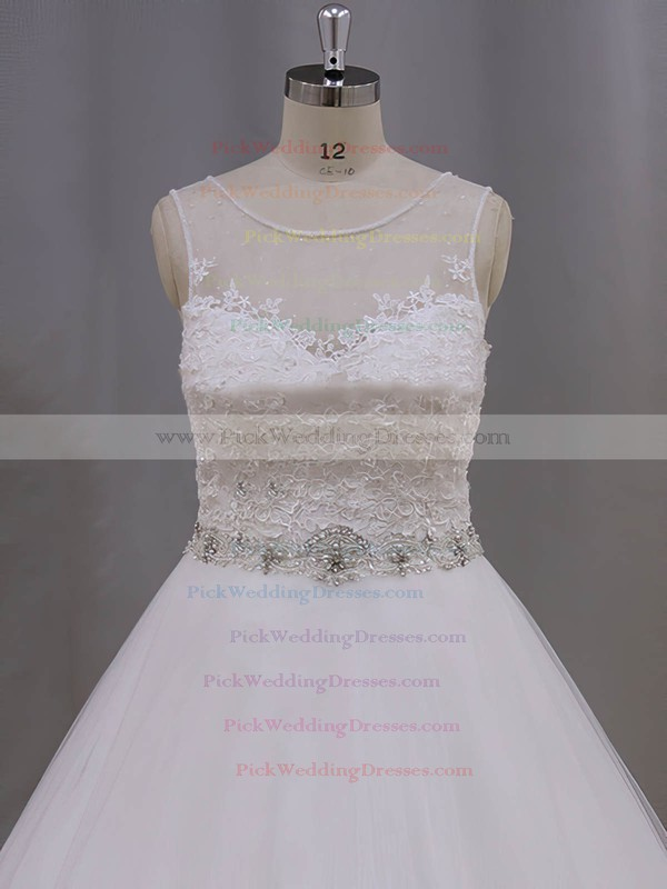 Beautiful Ivory Scoop Neck Tulle Appliques Lace Ball Gown Wedding Dresses #PWD00022038