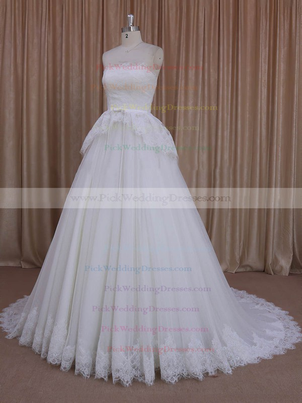 Princess Ivory Lace Tulle Sashes/Ribbons Strapless Pretty Wedding Dresses #PWD00022039