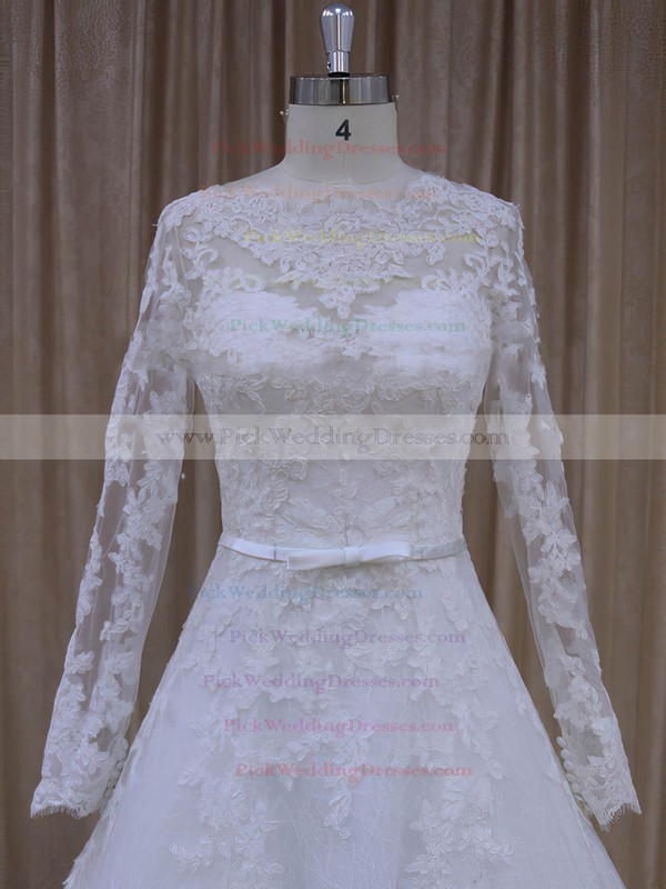 Fabulous Scalloped Neck Ivory Tulle Appliques Lace Long Sleeve Wedding Dresses #PWD00022040