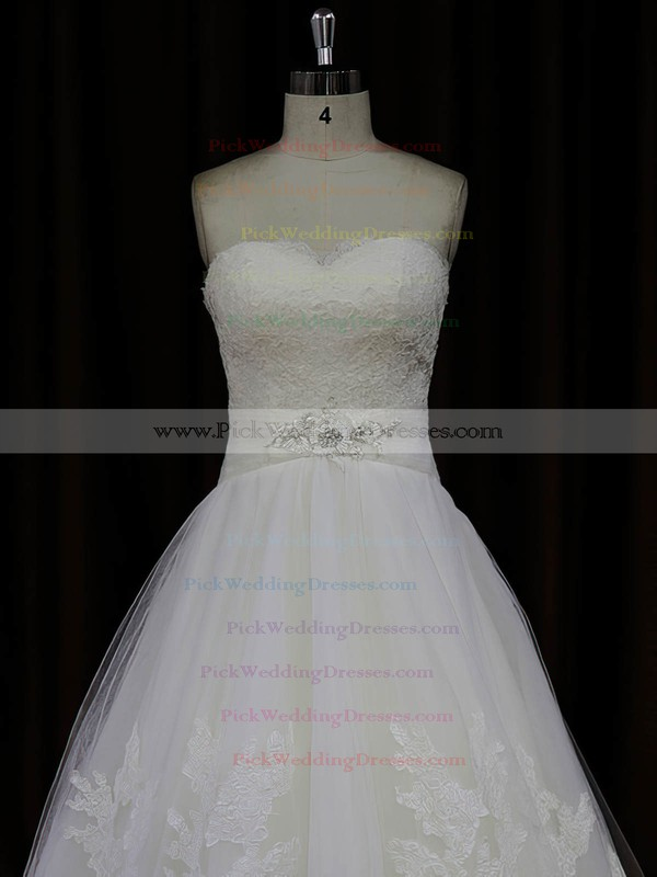 Sweetheart Ivory Princess Tulle Appliques Lace Designer Wedding Dresses #PWD00022041