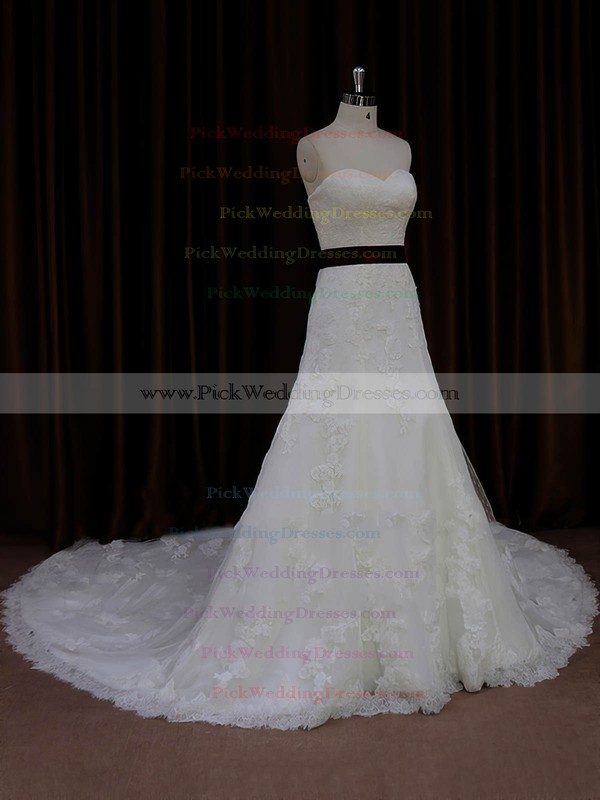 New Sweetheart Lace Tulle Sashes/Ribbons Ivory Cathedral Train Wedding Dresses #PWD00022042