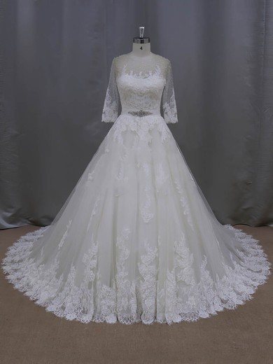 Ball Gown Scoop Neck Appliques Lace Ivory Tulle 3/4 Sleeve Wedding Dresses #PWD00022043