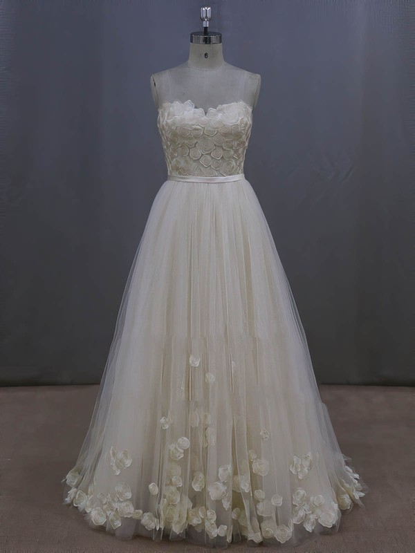 Tulle with Appliques Lace Ivory Sweep Train Lace-up New Arrival Wedding Dresses #PWD00022044