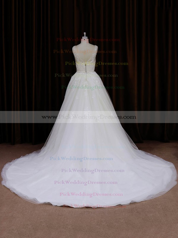 New Style Ivory Tulle Appliques Lace Chapel Train V-neck Wedding Dresses #PWD00022046