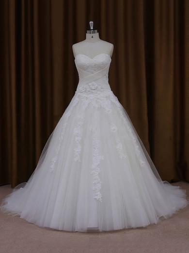 Ball Gown Tulle Appliques Lace Court Train Trendy Ivory Wedding Dresses #PWD00022047