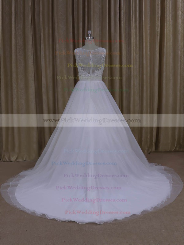 Scoop Neck Court Train Tulle Appliques Lace Ivory Popular Wedding Dresses #PWD00022048