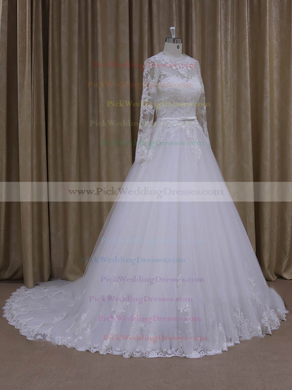 Chapel Train Scoop Neck Tulle Appliques Lace Ivory Long Sleeve Wedding Dresses #PWD00022050