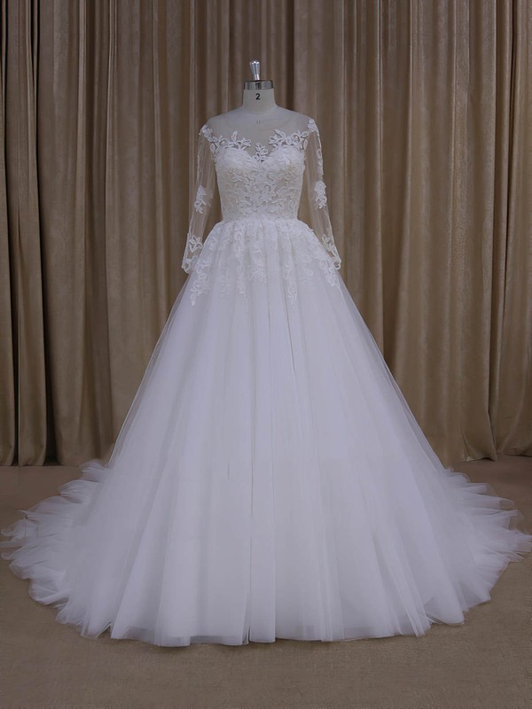 Long Sleeve Princes Ivory Tulle with Appliques Lace Gorgeous Wedding Dresses #PWD00022051