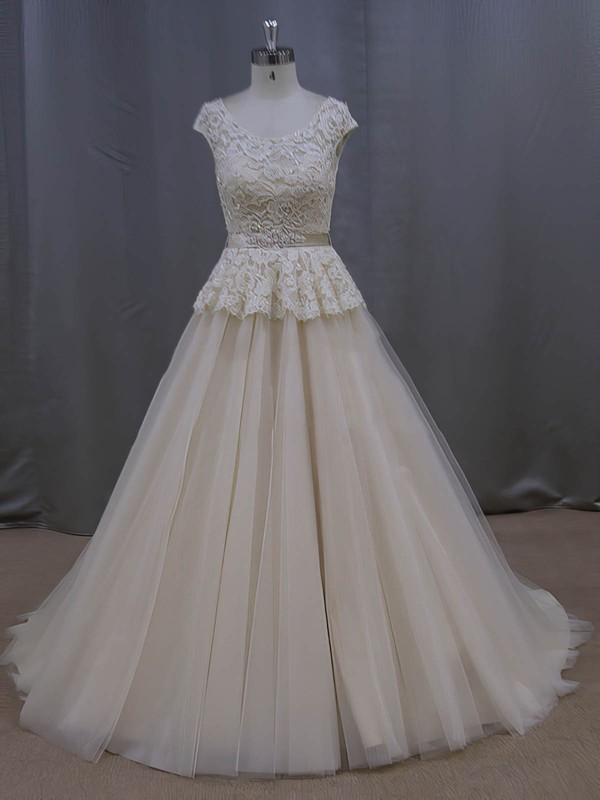 Scoop Neck Court Train Lace Tulle Sashes/Ribbons Graceful Champagne Wedding Dresses #PWD00022053