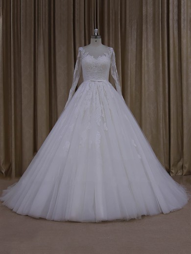 Tulle Appliques Lace Ball Gown Noble Ivory Long Sleeve Wedding Dresses #PWD00022054