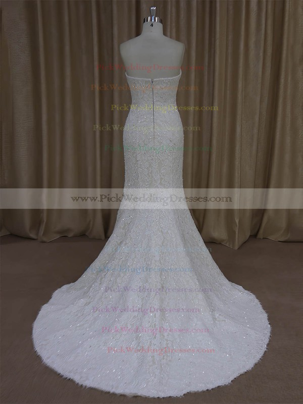 Trumpet/Mermaid Strapless Ivory Lace Beading Modern Wedding Dresses #PWD00022055
