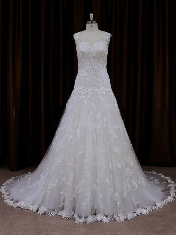 Online Sweetheart Tulle Appliques Lace Court Train Ivory Wedding Dresses #PWD00022057