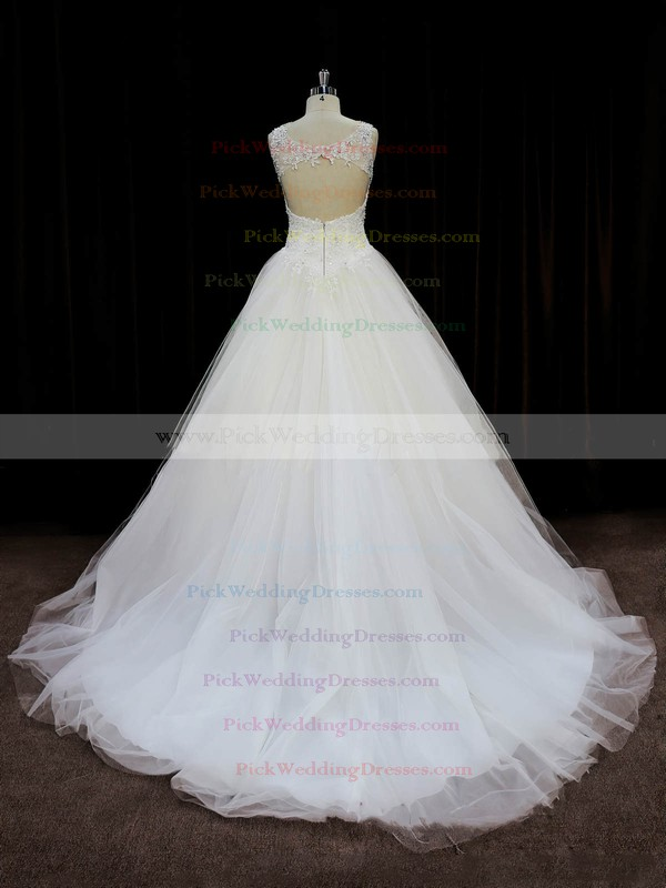 Court Train Ivory Tulle Appliques Lace Open Back Ball Gown Wedding Dresses #PWD00022058
