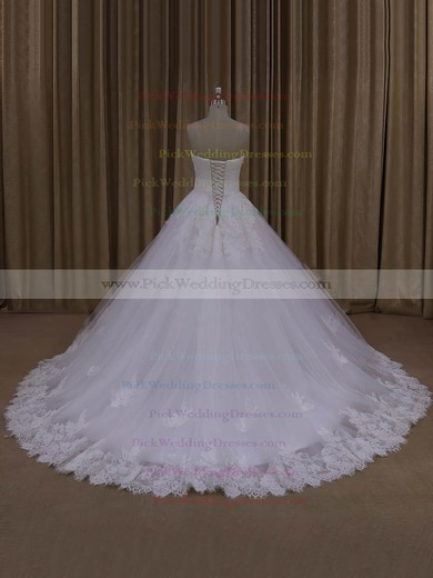 Discount Ball Gown Tulle Appliques Lace Ivory Strapless Wedding Dresses #PWD00022062