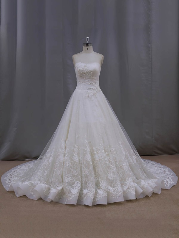 Chapel Train Ivory Lace Tulle Beading Affordable Strapless Wedding Dresses #PWD00022063
