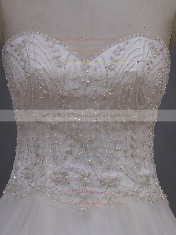Tulle with Beading Court Train Ivory Sweetheart Beautiful Wedding Dresses #PWD00022064