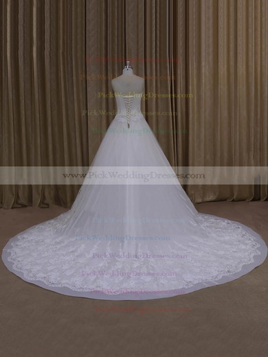 Elegant Strapless Ivory Tulle Appliques Lace Chapel Train Wedding Dresses #PWD00022065