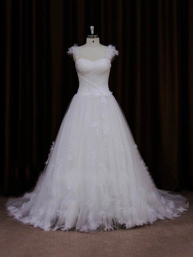 Tulle Sweetheart Appliques Lace Sweep Train Ivory Pretty Wedding Dresses #PWD00022066