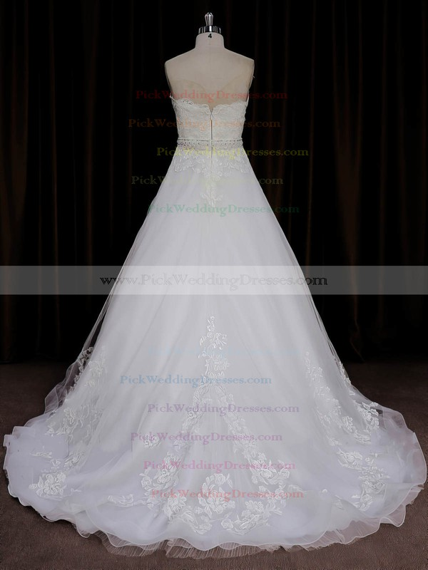 A-line Sweep Train Ivory Tulle Appliques Lace Elegant Wedding Dresses #PWD00022067