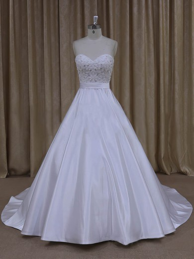 Wholesale Sweetheart Satin Beading Court Train White Wedding Dresses #PWD00022068