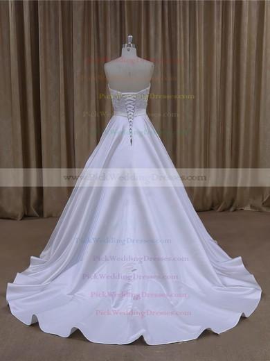 Wholesale Sweetheart Satin Beading Court Train White Wedding Dresses #PWD00022068