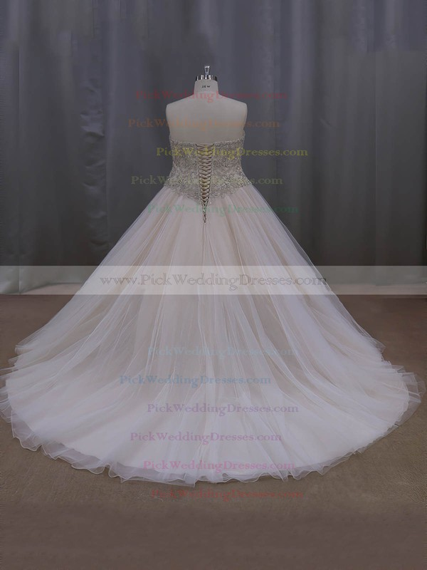 Sweetheart Tulle Crystal Detailing Court Train Fashion Champagne Wedding Dresses #PWD00022069