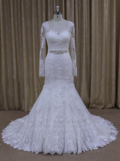 White Tulle Trumpet/Mermaid with Appliques Lace Long Sleeve Wedding Dresses #PWD00022071