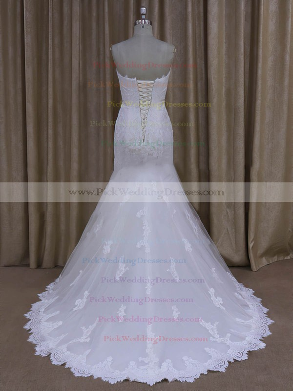 Ivory Sweep Train Tulle Appliques Lace Trumpet/Mermaid New Wedding Dresses #PWD00022072