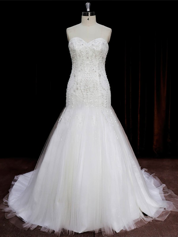 New Arrival Sweetheart Tulle Beading Ivory Trumpet/Mermaid Wedding Dresses #PWD00022073